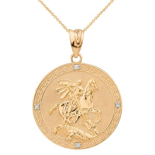 Solid Yellow Gold Saint George Engravable Diamond Medallion Pendant Necklace  (Large)