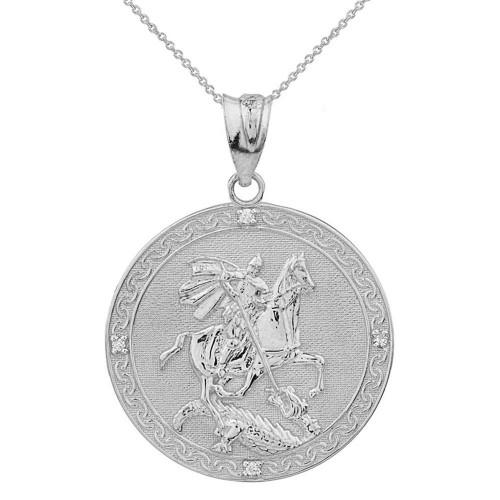 Solid White Gold Saint George Engravable Diamond Medallion Pendant Necklace  (Large)