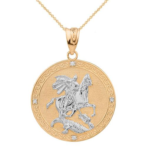 Two Tone Yellow Gold Saint George Engravable Diamond Medallion Pendant Necklace  (Large)