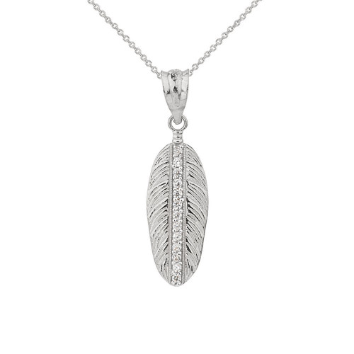 Solid White Gold Cubic Zirconia Boho Feather Pendant Necklace (Small)