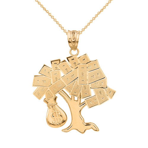 Solid Yellow Gold Hip Hop Money Tree Money Bag Pendant Necklace