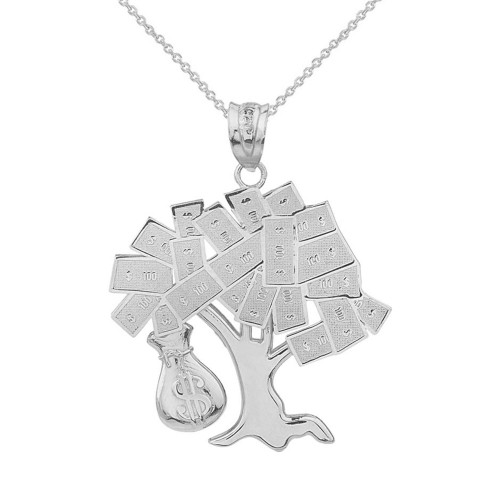Solid White Gold Hip Hop Money Tree Money Bag Pendant Necklace
