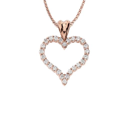 "14K Rose Gold Diamond Studded Open Heart Pendant Necklace (0.8"")"