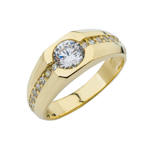 Yellow Gold Mens Diamond Solitaire Ring with 1 1\2 White Topaz Center Stone
