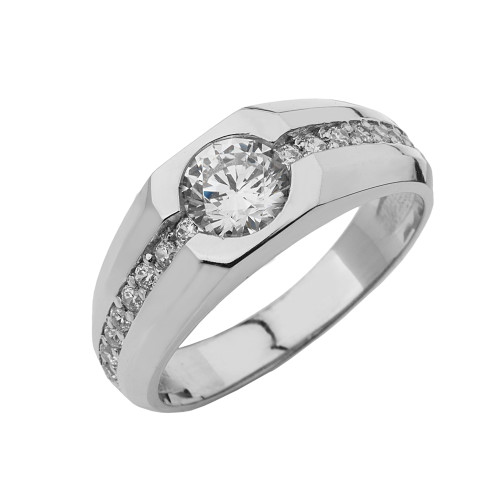 White Gold Mens Solitaire Ring with Cubic Zirconia Center Stone