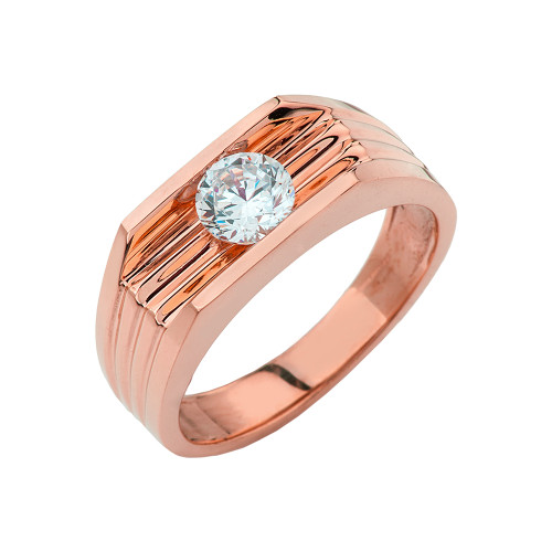 Rose Gold Design Mens Ring with 1ct Cubic Zirconia Center Stone