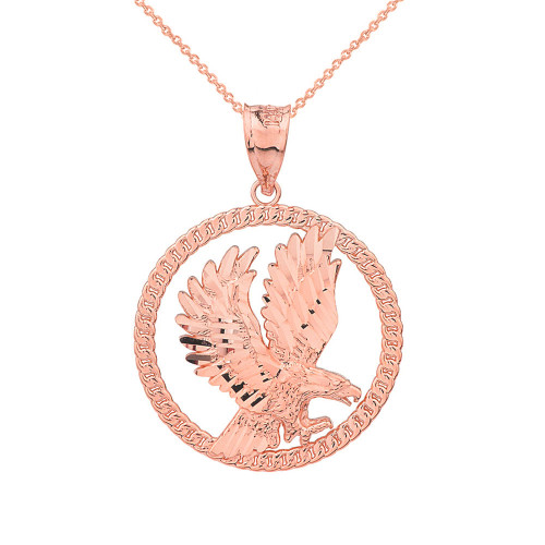 Solid Rose Gold Rope Frame Diamond Cut American Eagle Circle Pendant Necklace