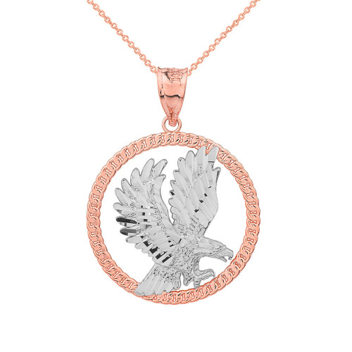 Solid Two Tone Rose Gold Rope Frame Diamond Cut American Eagle Circle Pendant Necklace