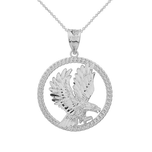 Sterling Silver Rope Frame Diamond Cut American Eagle Circle Pendant Necklace