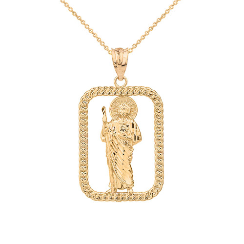 Solid Yellow  Gold Rope Frame Diamond Cut Saint Jude Rectangle Pendant Necklace