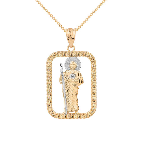 Solid Two Tone Yellow Gold Rope Frame Diamond Cut Saint Jude Rectangle Pendant Necklace