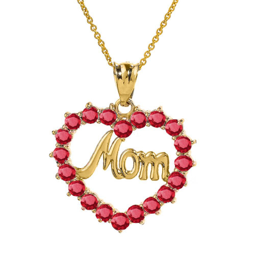 """Yellow Gold """"Mom"""" Ruby  (LCR)  Open Heart Pendant Necklace"""