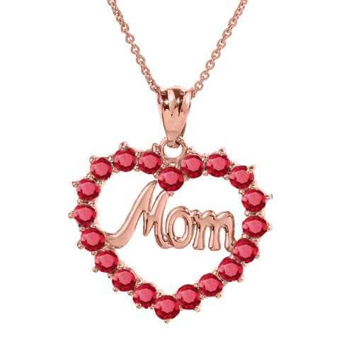 """Rose Gold """"Mom"""" Ruby (LCR) Open Heart Pendant Necklace"""