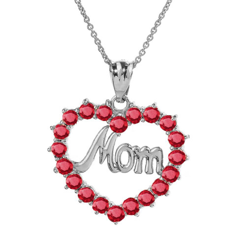 """White Gold """"Mom"""" Ruby (LCR)  Open Heart Pendant Necklace"""