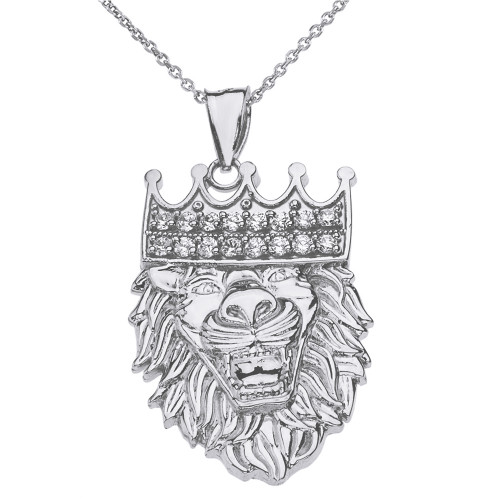 Solid White Gold Double Sided Text Embossed Cubic Zirconia Lion King Pendant Necklace