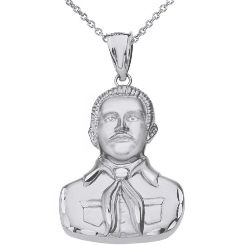 Solid White Gold Double Sided Diamond Cut Malverde Pendant Necklace