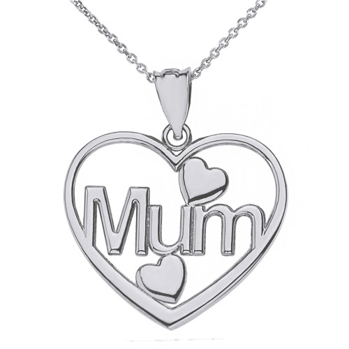 Sterling Silver Mum Hearts Pendant Necklace