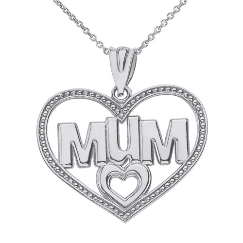 Solid White Gold Dotted Texture Double Hearts Mum Pendant Necklace
