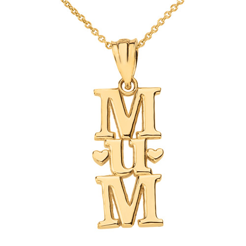 Solid Yellow Gold Vertical Heart Text Mum Pendant Necklace