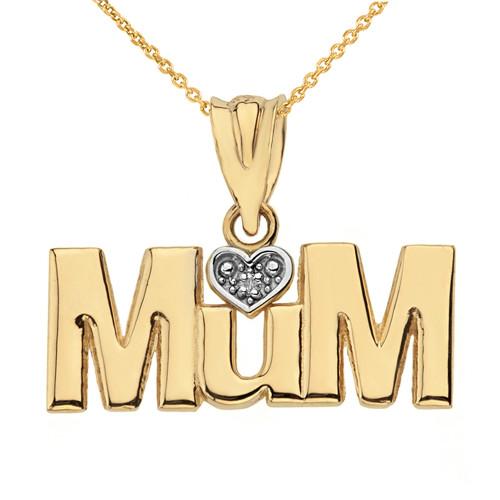 Solid Yellow Gold  Rhodium Heart Diamond Mum Pendant Necklace