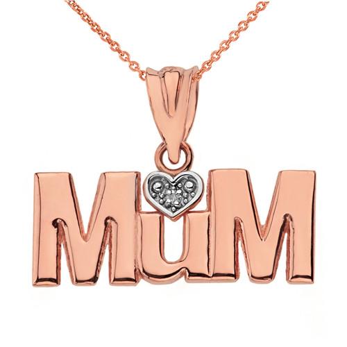 Solid Rose Gold  Rhodium Heart Diamond Mum Pendant Necklace