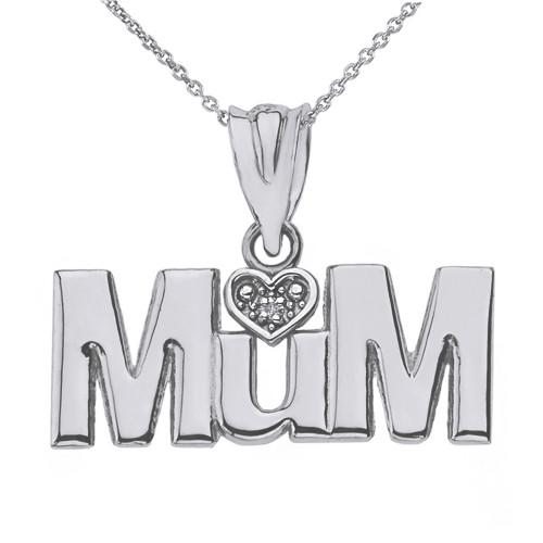 Solid White Gold  Rhodium Heart Diamond Mum Pendant Necklace