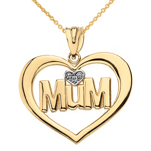 Solid Yellow Gold Heart Outline Rhodium Heart Diamond Mum Pendant Necklace