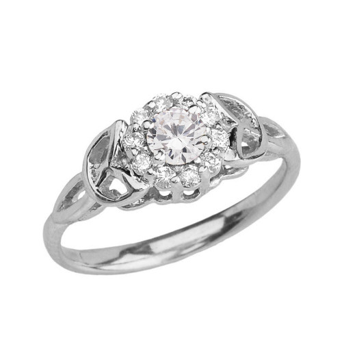 White Gold CZ Engagement/Promise Ring