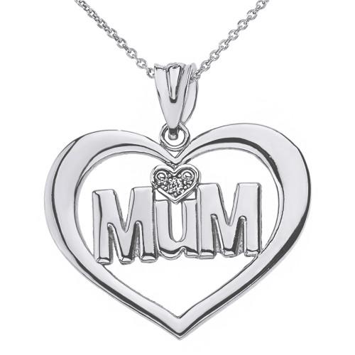 Solid White Gold Heart Outline Rhodium Heart Diamond Mum Pendant Necklace