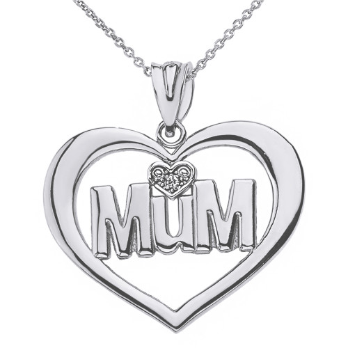 Sterling Silver Heart Outline Heart CZ Mum Pendant Necklace