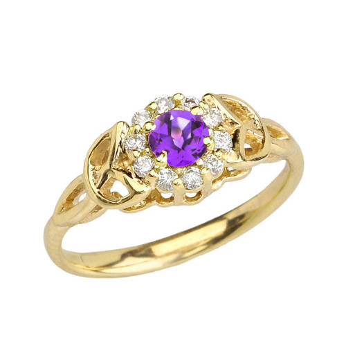 Yellow Gold  Diamond and Amethyst  Engagement/Promise Ring