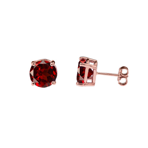 10K Rose Gold January Birthstone Garnet (LCG) Earrings