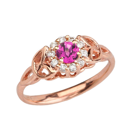 Rose Gold  Diamond and Alexandrite (LCAL) Engagement/Promise Ring