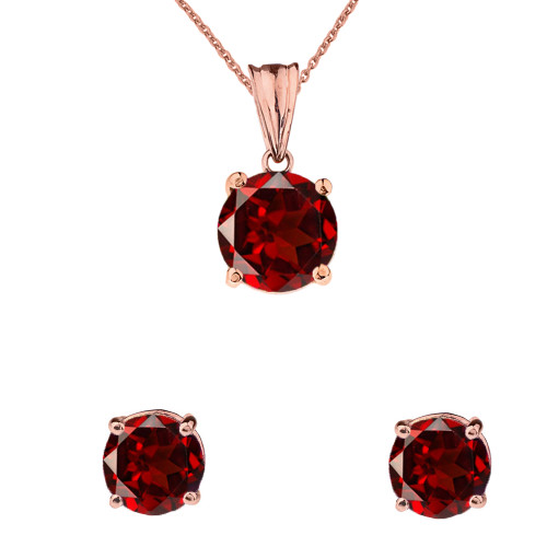 10K Rose Gold January Birthstone Garnet (LCG) Pendant Necklace & Earring Set