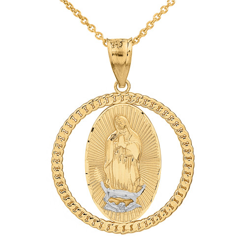 Solid Two Tone Yellow Gold Cuban Link Circle Frame Diamond Cut Lady of Guadalupe Pendant Necklace