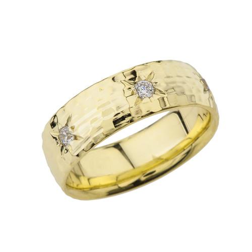 Yellow Gold 7 1\2 Hammered Diamond Mens Wedding Band
