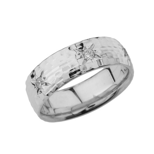 White Gold 7 1\2 Hammered Diamond Mens Wedding Band