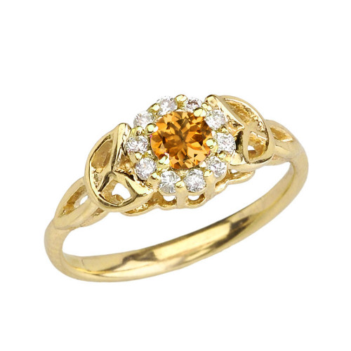 Yellow Gold  Diamond and Citrine   Engagement/Promise Ring