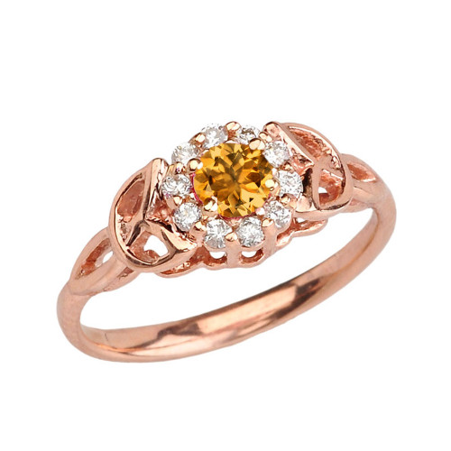 Rose  Gold  Diamond and Citrine   Engagement/Promise Ring