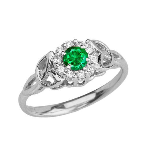 White Gold  Diamond and  Emerald   Engagement/Promise Ring