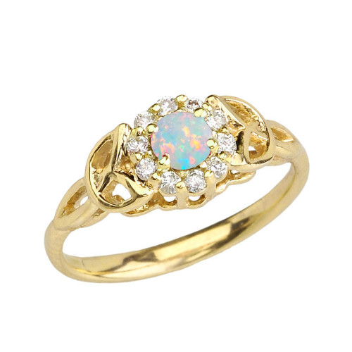 Yellow Gold  Diamond and Opal   Engagement/Promise Ring