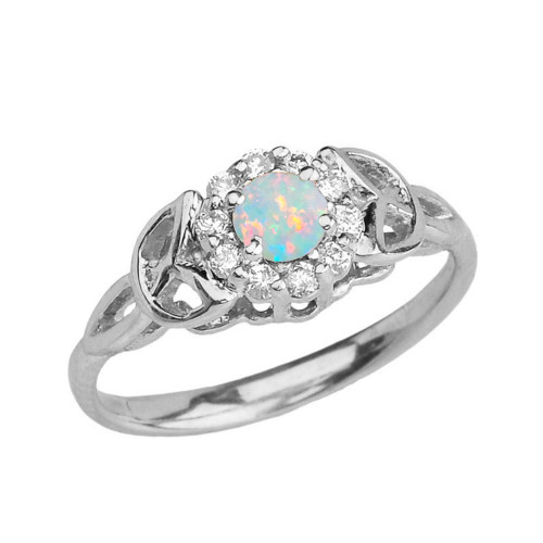White Gold  Diamond and Opal  Engagement/Promise Ring
