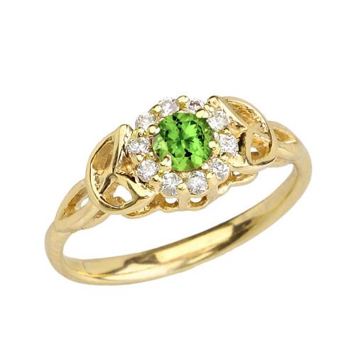 Yellow Gold  Diamond and Peridot Engagement/Promise Ring