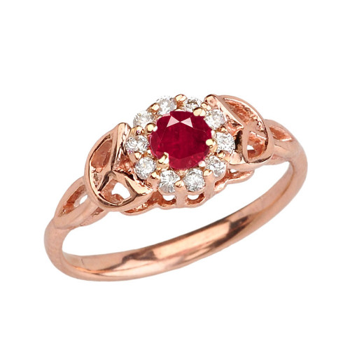 Rose  Gold  Diamond and Ruby  Engagement/Promise Ring