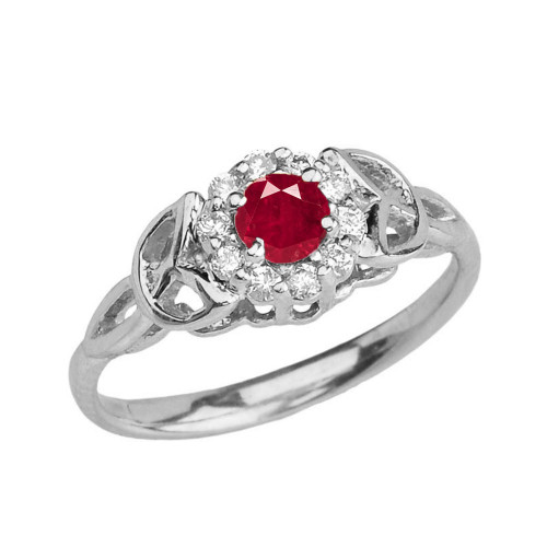 White Gold  Diamond and Ruby  Engagement/Promise Ring