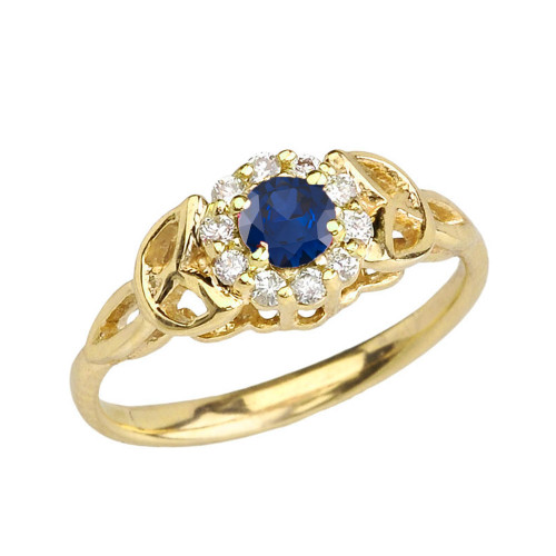 Yellow Gold  Diamond and Sapphire   Engagement/Promise Ring