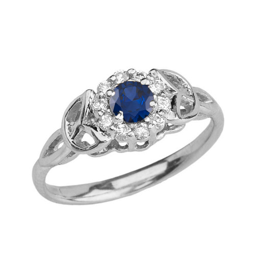 White Gold  Diamond and Sapphire   Engagement/Promise Ring