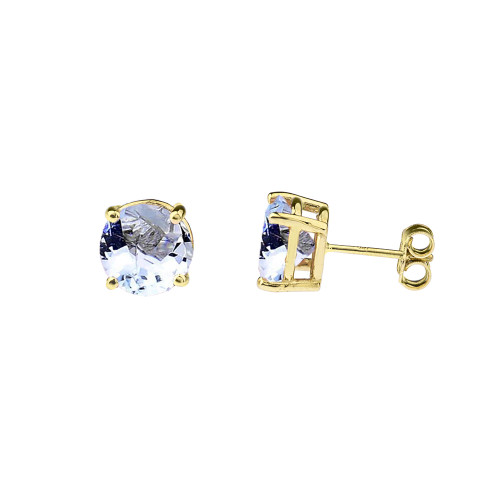 10K Yellow Gold March  Birthstone  Aquamarine (LCAQ) Earrings