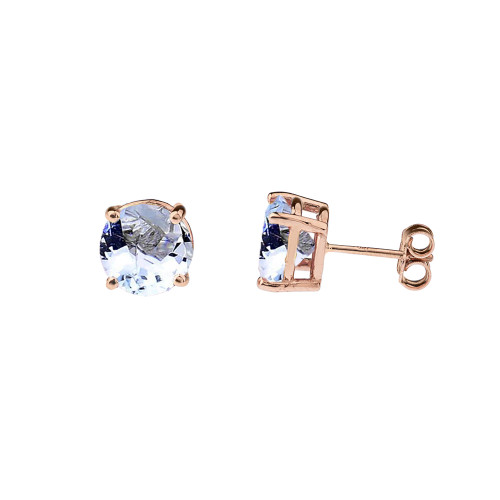 10K Rose Gold March  Birthstone  Aquamarine (LCAQ) Earrings