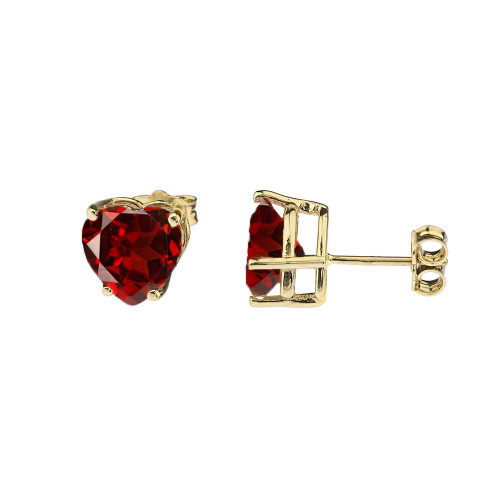 10K Yellow Gold Heart January Birthstone Garnet (LCG) Earrings